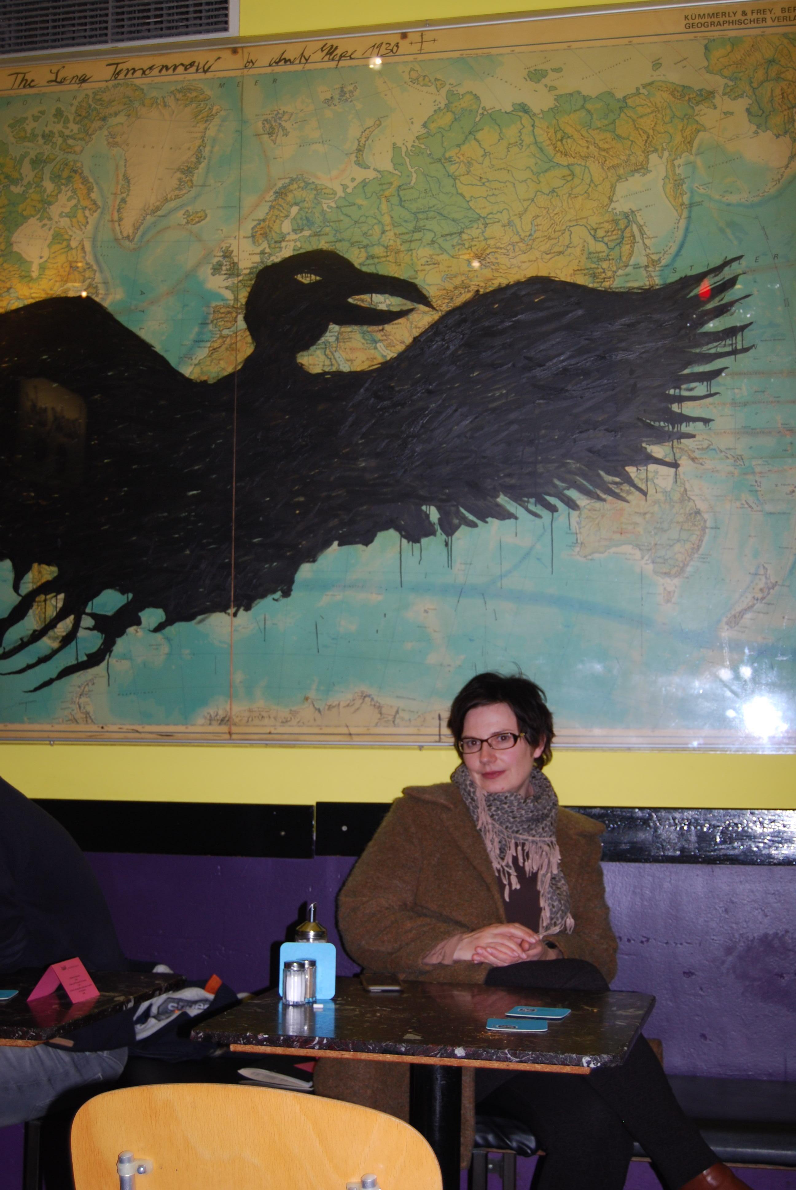 Chriska Wagner beim Interview im Baadercafe in München